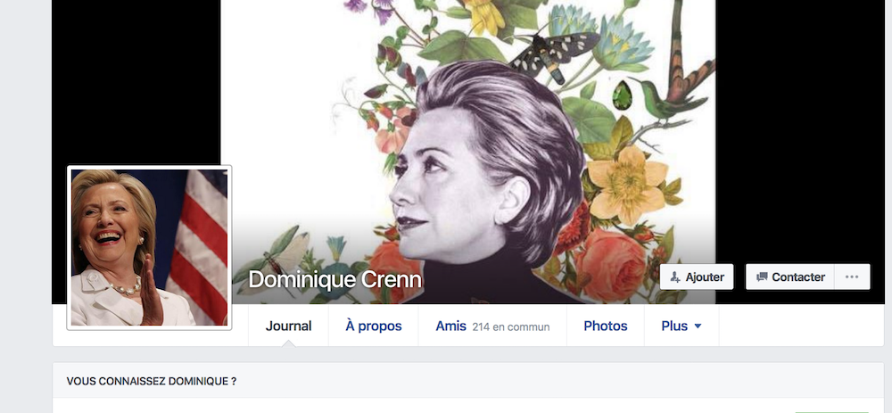 Le profil Facebook de la chef Dominique Crenn mercredi 9 novembre